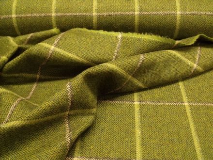100% Wool Herringbone Country Tweed  Windowpane Check Fabric AZ58